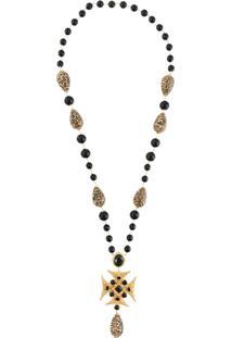 Dolce & Gabbana Colar Longo Com Detalhes Dourados - Metálico