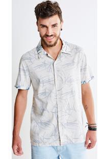 Camisa Avesso Estampa Folhagens