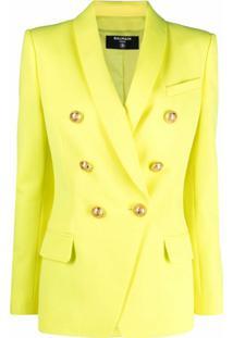 Balmain Blazer Com Abotoamento Duplo - Amarelo