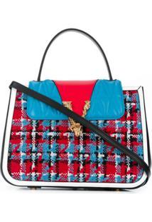 Versace Bolsa Tote De Lã Com Textura - Azul