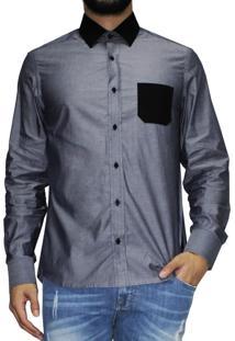 Camisa Manga Longa R.Mendes Chumbo Details Preto