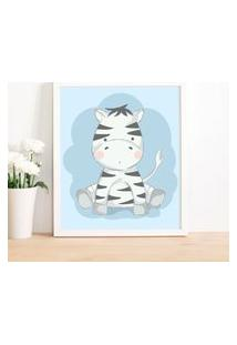 Quadro Decorativo Infantil Zebra Baby Branco - 20X25Cm