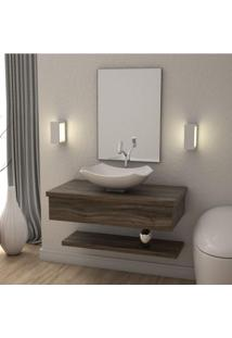 Conjunto Bancada Para Banheiro Com Cuba Abaulada L42 E Prateleira Metrópole 805W Compace Carvalho Dark