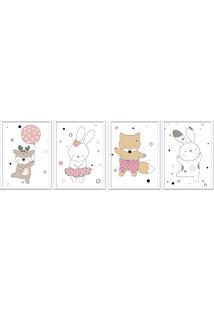 Quadro 60X160Cm Infantil Animais Felizes Moldura Branca Com Vidro Decorativo