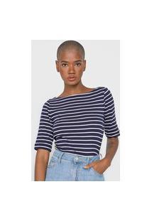 Blusa Gap Listrada Azul-Marinho/Branca