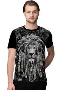 Camiseta Stompy Lion Roots Masculina - Masculino-Preto