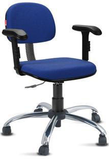 Cadeira Escritório Azul Escuro Cromada Com Braços