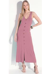 Vestido Rosê Midi Sem Mangas Com Botões
