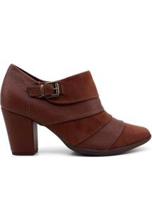 Ankle Boot Piccadilly Chocolate Feminino - Feminino-Marrom