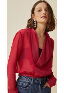 Amaro Feminino Blusa Transparência Elástico Cintura, Vermelho