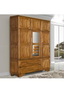 Guarda-Roupa 7 Portas 2 Gavetas Em Madeira Maciça Com Espelho Chicago Honey - Atraente Móveis