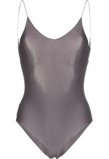 Oséree Travaille Lace Trim Scoop Back Swimsuit - Cinza