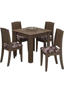 Conjunto Mesa De Jantar Suly 0,90M Com 4 Cadeiras Barbara Marrocos Tecido Floral Bordô Cimol
