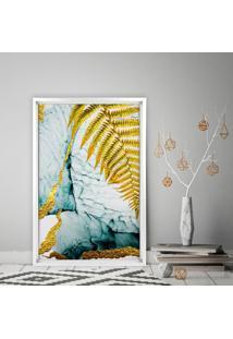 Quadro Love Decor Com Moldura Chanfrada Folha Dourada Branco - Médio
