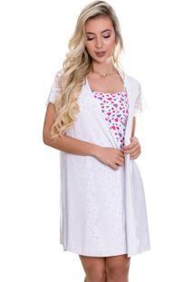 Camisola Amamentação Com Robe Estilo Sedutor Branco Estampada