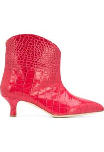 Paris Texas Embossed Kitten-Heel Ankle Boots - Rosa