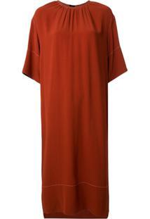Marni Vestido Reto Com Detalhe Contrastante - Vermelho