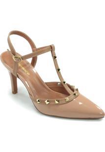 c5e97db87 R$ 149,99. Constance Scarpin Nude Bege Dourado Constance Verniz Spikes ...