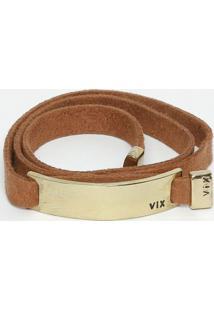 Pulseira Com Detalhe Metalizado- Marrom & Dourada- 1Vix