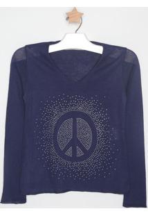 Suéter Em Tricô Com Termocolantes - Azul Escuro - Mamandi