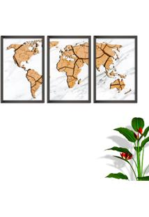 Quadro 60X120Cm Mapa Mundi Terra Moldura Sem Vidro Fundo Branco Altas Países Decorativo Interiores - Oppen House