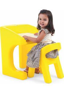 Escrivaninha Xalingo Com Cadeira Brincando De Escolinha - Pvc - 9398 - Amarelo - Kanui