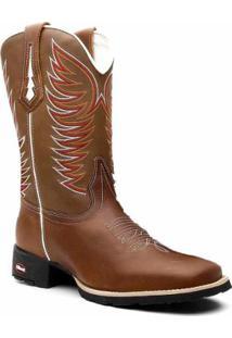 Bota Texana Em Couro Dexshoes Bico Quadrado Feminina - Feminino-Marrom