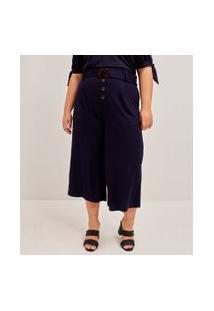 Calça Pantacourt Lisa Com Cinto Curve & Plus Size | Ashua Curve E Plus Size | Azul | Eg