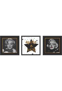 Conjunto Com 3 Quadros Decorativos Hollywood Stars Preto E Branco