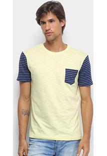 Camiseta Canal Surf Listras Manga Raglan Masculina - Masculino-Amarelo