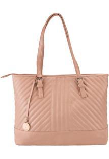 Bolsa Shopping Bag Stz Matelassê Geométrico Bege -