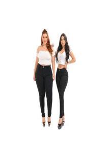 Calça Jeans Feminina Skinny Preta Cintura Alta Elastano