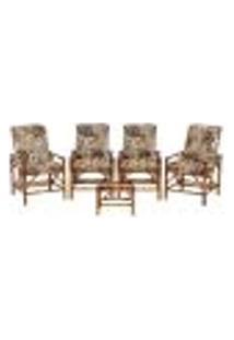 Conjunto Mesa E 4 Cadeiras De Bambu Cancun Para Área Edicula Jardim G13