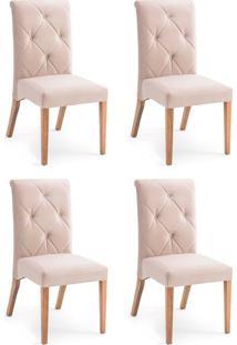 Conjunto Com 4 Cadeiras De Jantar Diamante Marrom Claro E Castanho