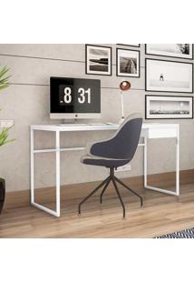 Mesa Para Computador Industrial Com 1 Gaveta Elisa-Brastubo - Branco / Branco