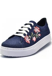 Tênis Flor Da Pele Bordado Floral Jeans