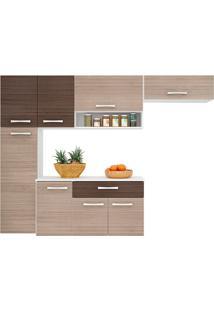 Cozinha Compacta Suspensa Poquema 8 Portas 1 Gaveta Anita Amêndoa/Capuccino