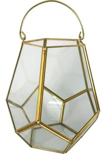 Vaso Decorativo De Vidro E Metal 19 Cm
