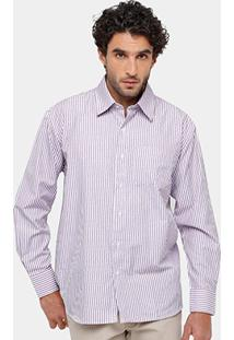 Camisa Blue Bay Regular Fit Listras Bolso Masculina - Masculino