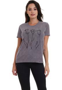 Camiseta Básica Jay Jay Three Flowers Chumbo Dtg