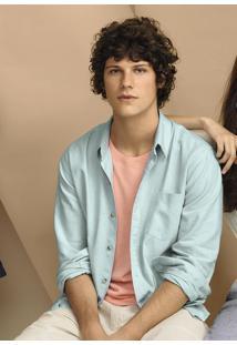 Camisa Básica Masculina Em Tecido De Linho Com Bolso