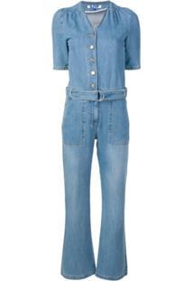 Sjyp Belted Denim Jumpsuit - Azul