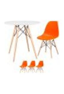 Conjunto De Mesa Eames 80 Cm Branco + 3 Cadeiras Eames Eiffel Dsw Laranja