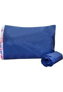Jogo De Cama Bordados Ricardo Premium Solteiro 02 Peças Azul