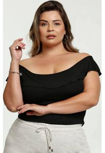 Blusa Feminina Ombro A Ombro Plus Size Manga Curta