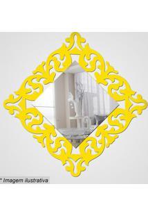 Espelho Arabesco- Espelhado & Amarelo- 28X28X5Cmcia Laser