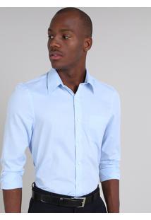 Camisa Masculina Comfort Estampada Com Bolso Manga Longa Azul Claro