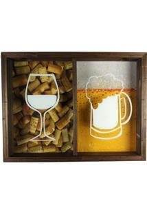 Quadro Duplo Porta Rolhas Vinhos E Tampinha Cerveja Rustico Ref 763 Art Frame