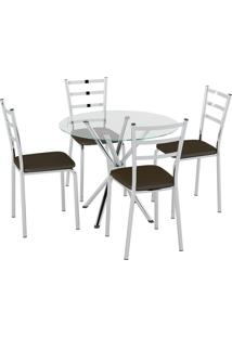 Conjunto Mesa Tampo Vidro C/ 4 Cadeiras Vinil Cacau/Cromado Pozza - Tricae