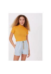 Blusa Cropped Básica Em Ribana Com Gola Alta   Blue Steel   Amarelo   M